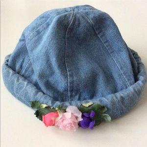 Girls 2-6 yr. Boho Flower Denim Rolled Brim Hat